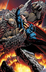 Superman vs Doomsday by BlondTheColorist