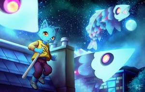 Mae and Mystery fish by FujioChen