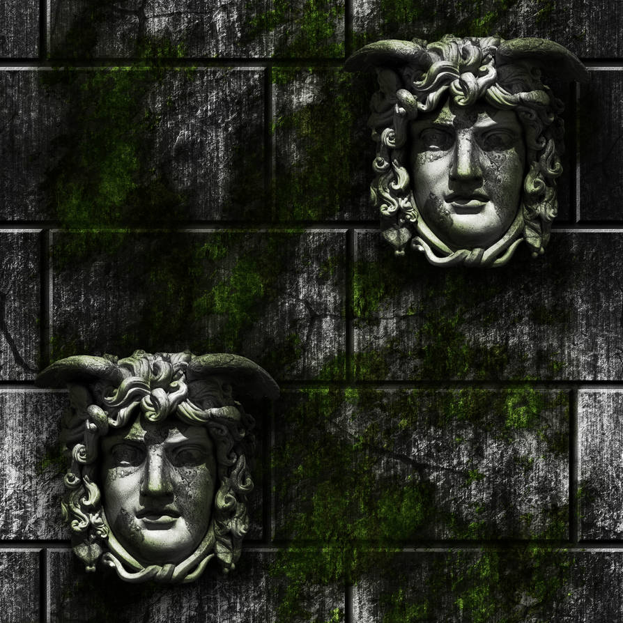 Grey Stone Bricks with moss and gargoyle faces by Hoover1979