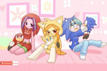 Dazzlings with Sonic hoddies by HowXu
