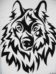 Tribal wolf head by Cath300