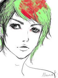 Midori hair, Green hair by hi54
