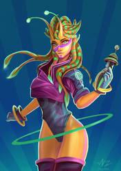 Orange Alien Girl by Ziggafee