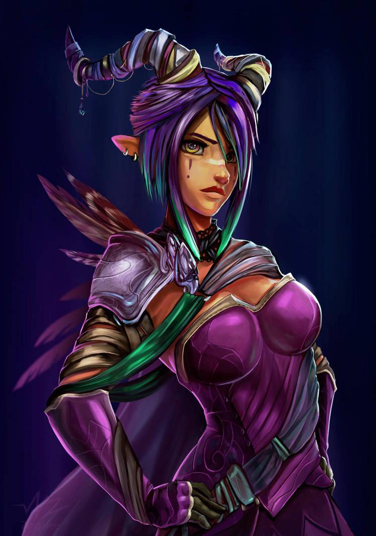 Eliana the Dark Magic Elf Demon by Ziggafee