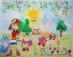 May and Kirby with Friends Colourful Scene by Puswi