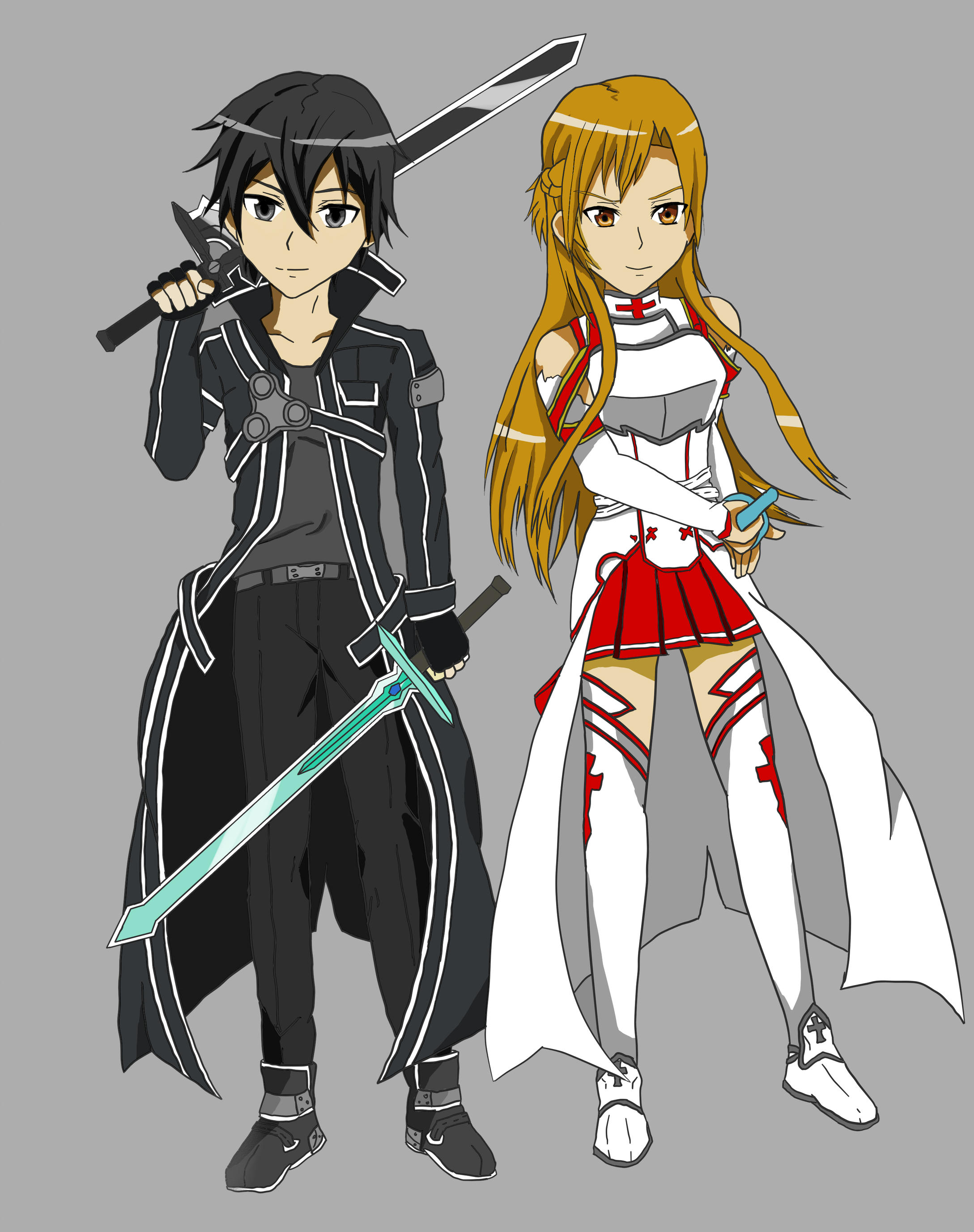 Sword Art Online Asuna And Kirito Colored By Light From Dark