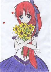 Girl with sunflowers :3 by Usagi1810