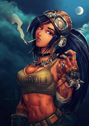 Baghera the motorblade Master -Collab art by MaKuZoKu