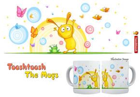 Happy Bunny and Frog Mug by Tooshtoosh