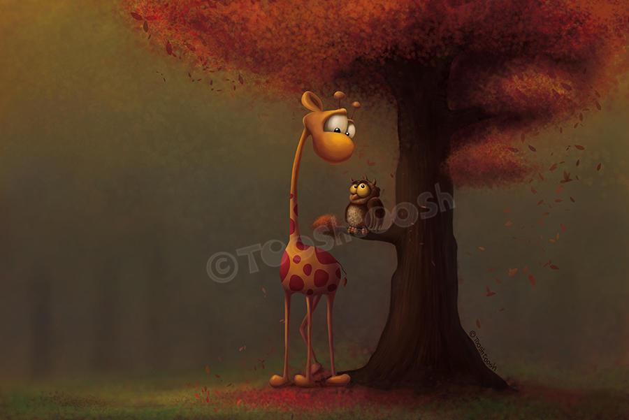 Autumn Giraffe by Tooshtoosh