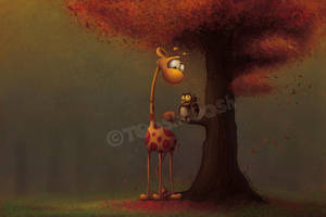 Autumn Giraffe by Tooshtoosh