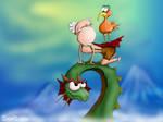 Dragon and grandpa by Tooshtoosh