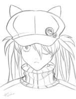 Asuka Black Hat Evangelion Q - Rough Sketch by robepate
