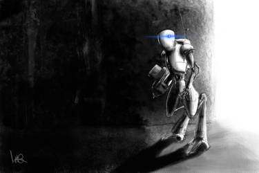 A blue-eyed robot over there by ScratchedCanvas