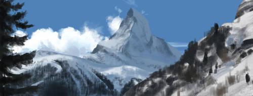 Quick study 02 - Snowy mountain by JayceJvR1992
