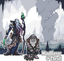 Art for Mindflayer and Thrall Paper Miniatures by PrintableHeroes