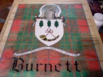 Burnett Family Crest, Plaid and Motto 2016 by Zeta-0