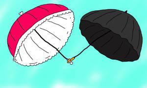 Elizabeths Parasol And Olivers Umbrella by Aquateen510