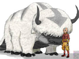 Aang and Appa by avatar-fan