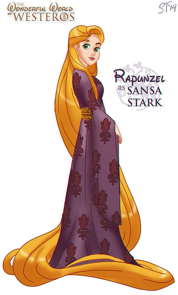 Rapunzel as Sansa Stark by DjeDjehuti