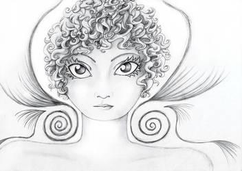 Head of curly hair by moep424