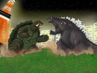 Godzilla vs Gamera by PickledGenius
