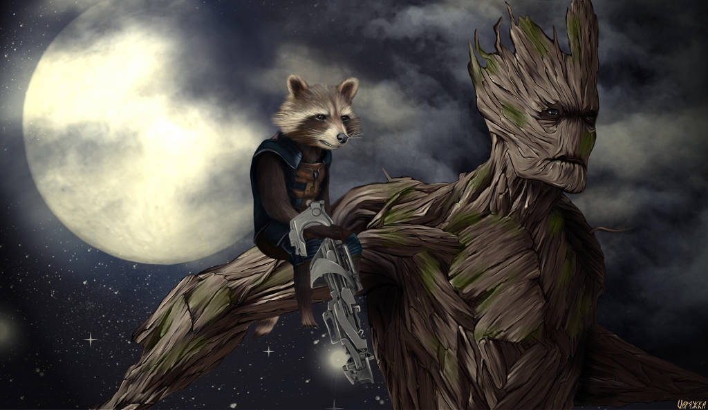 Rocket And Groot by Varagka