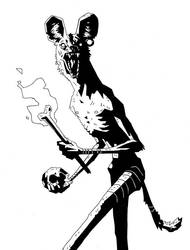 Painted Wolf - Mignola Style by moth-eatn