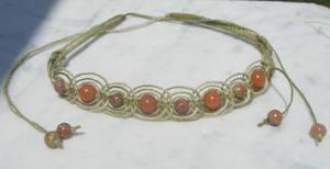 olive fishbone hemp necklace by HempLady4u