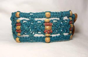 teal wide cuff hemp bracelet by HempLady4u