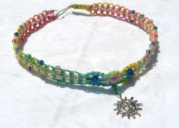 sun and moon rainbow choker by HempLady4u