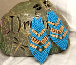 turquoise handmade turquoise hemp earrings by HempLady4u