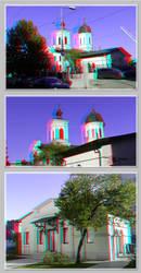 3D anaglyph Dichiu Church Bucharest by gogu1234