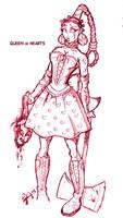 Queen of Hearts Inkpen sketch by dmario