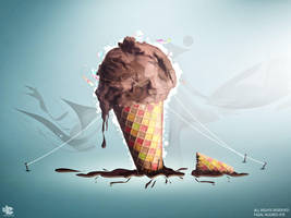 Ice Cream Cone melting by injured-eye