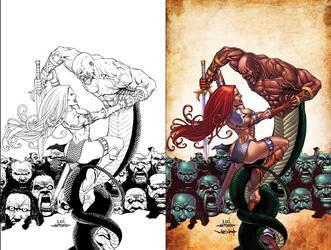 Red Sonja VS Thulsa Doom by stompboxxx