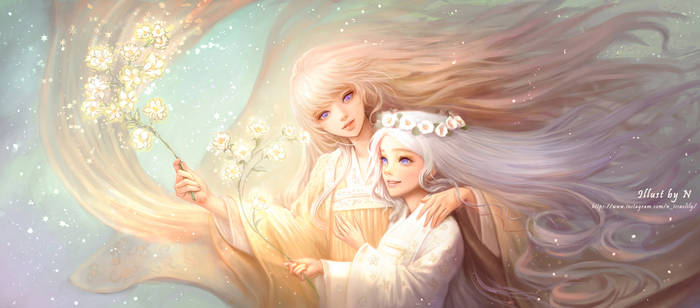Commission illust. mom and daughter by lily-nuga