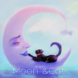 Moon and Cat by lily-nuga