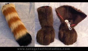 Red Panda Tail and Feet by JakeJynx
