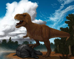 Tyrannosaurus rex for Dinosaur State Park, CT by MicrocosmicEcology