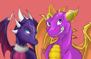 Spyro and Cynder by Hyrika