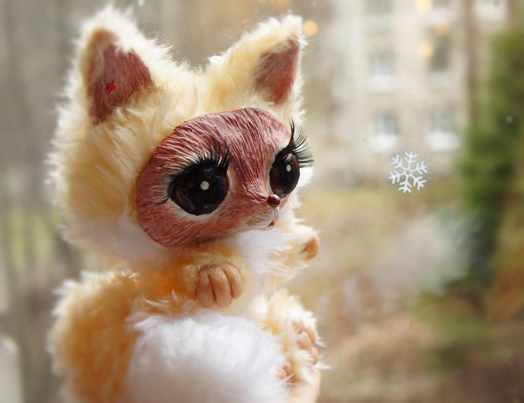 Little fox watching First Snow by Werdiga