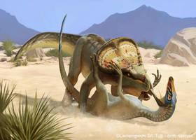 Velociraptor VS Protoceratops by Akeiron