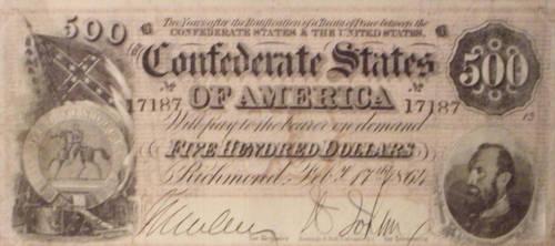 1864 Confederate 500-Dollar Bill by rlkitterman