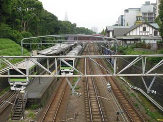 East Japan Yamanote Line E231s at Harajuku by rlkitterman