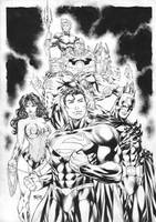 pin up JLA ink by Fredbenes