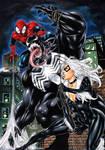 Spiderman and Black cat VS Venom by Fredbenes