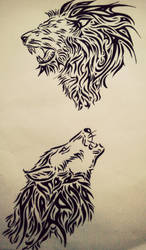 Tribal lion and wolf by tattoo-love-forever