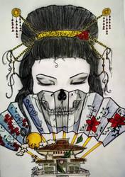 Geisha skull fan by tattoo-love-forever