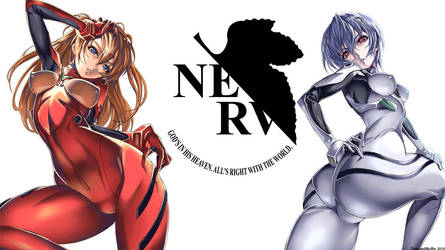Asuka Langley and Rei Ayanami by diseasedmuffin